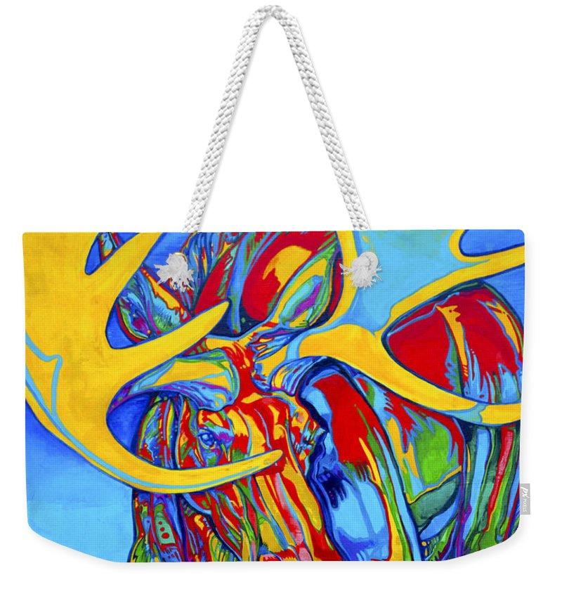 Wildlife Paintings Weekender Tote Bag featuring the painting Large Moose by Derrick Higgins