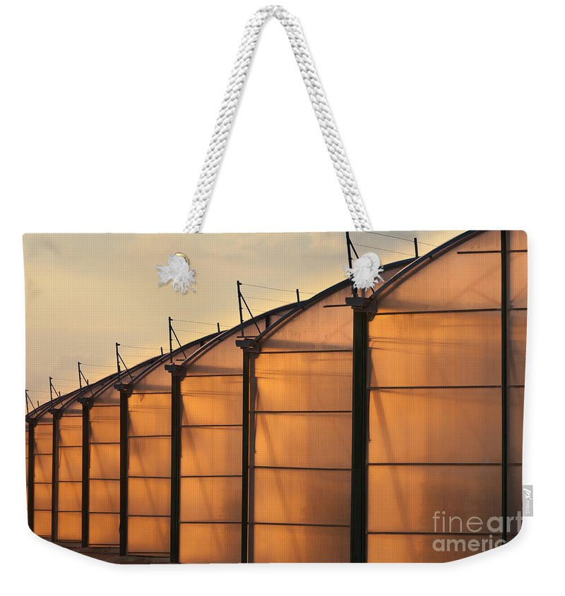 Agri Weekender Tote Bag featuring the photograph Large Scale Industrial Greenhouse Lit By Sunet by Stephan Pietzko