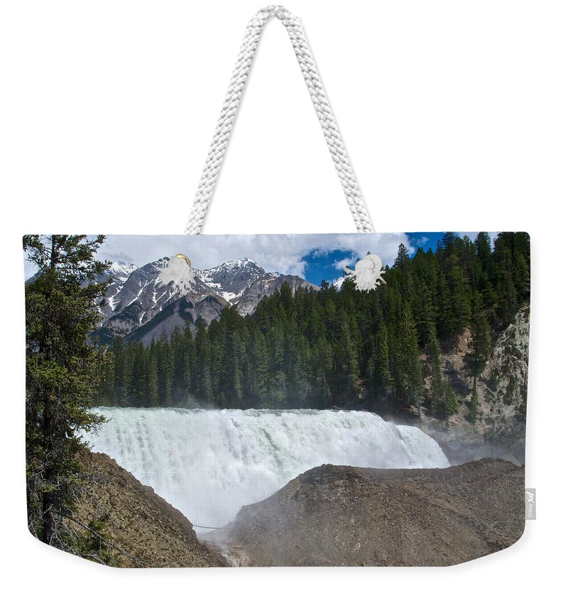 Larger View Of Wapta Falls In Yoho Np Weekender Tote Bag featuring the photograph Larger View Of Wapta Falls In Yoho Np-bc by Ruth Hager