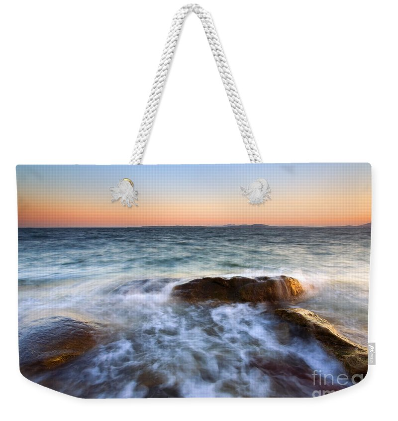 San Juan Islands Weekender Tote Bag featuring the photograph Larrabee Sunset by Mike Dawson