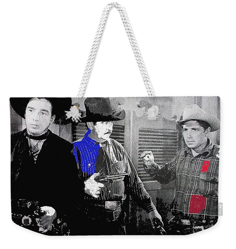 Lash Larue Charles King Law Of The Lash Publicity Photo Johnny Cash Prc The Hurricane Express The Lawless Nineties The Lonely Trail Gunsmoke Color Added Dressed In Black B-movie Cowboy Peter Bogdanovich The Last Picture Show Red River John Wayne Howard Hawks Weekender Tote Bag featuring the photograph Lash Larue And Charles King Law Of The Lash Publicity Photo 1947 by David Lee Guss