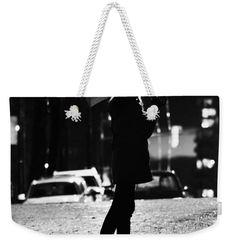 Street Photography Weekender Tote Bag featuring the photograph last Cab by The Artist Project