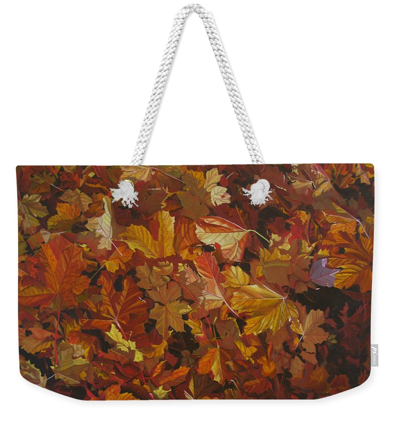 Fall Weekender Tote Bag featuring the painting Last Fall In Monroe by Thu Nguyen