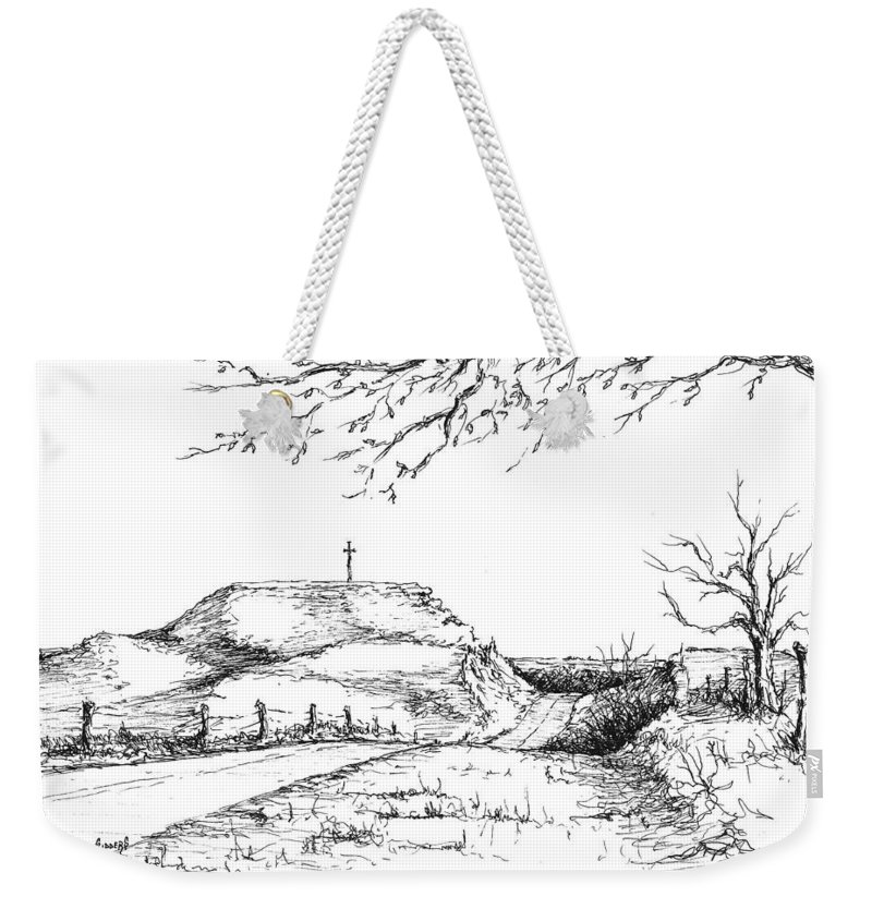Hill Weekender Tote Bag featuring the drawing Last Hill Home by Sam Sidders