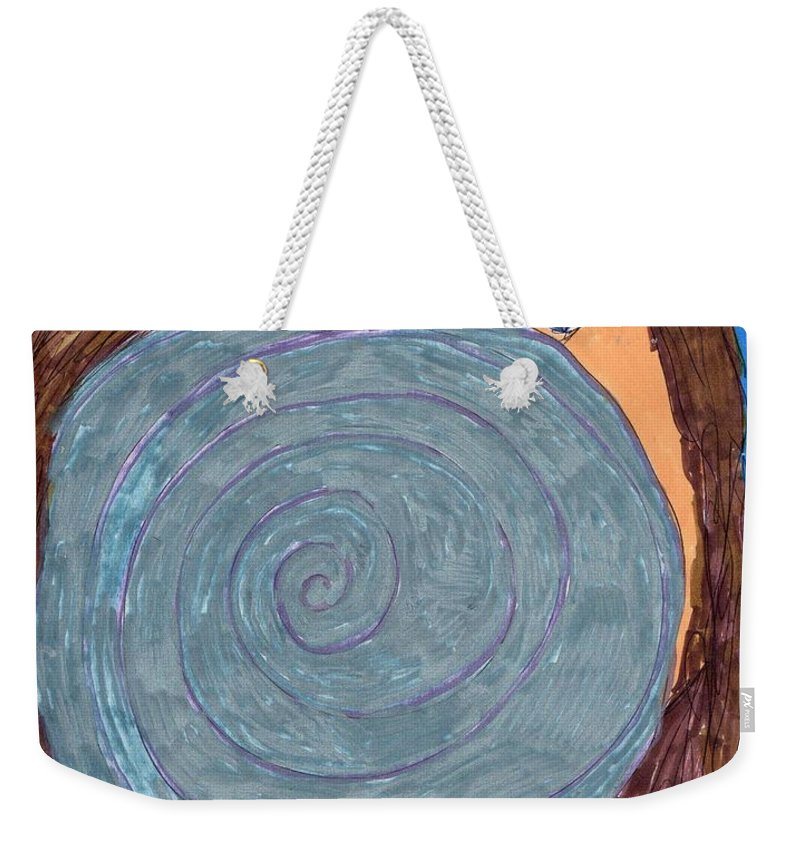Girl Looking In Mirror Weekender Tote Bag featuring the mixed media Last Touchup by Elinor Helen Rakowski