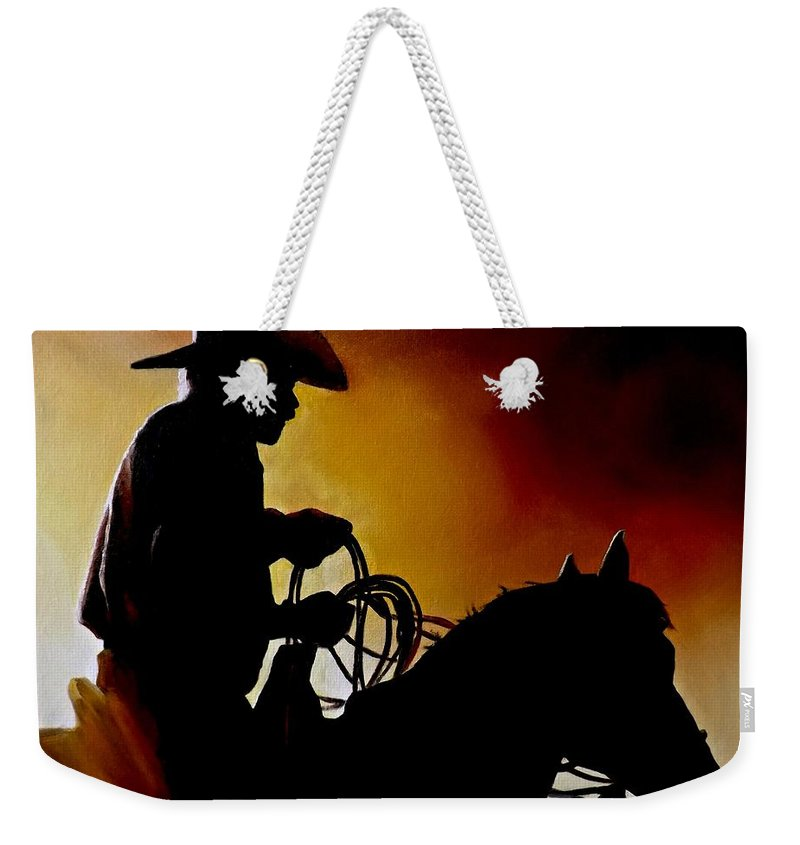 Cowboy Weekender Tote Bag featuring the painting Last Roping by Barry BLAKE
