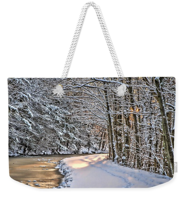 Nature Weekender Tote Bag featuring the photograph Late Afternoon In The Snow by Eleanor Abramson