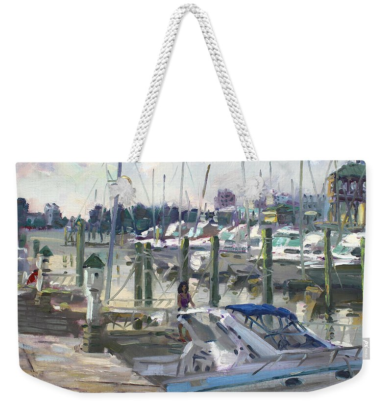 Virginia Harbor Weekender Tote Bag featuring the painting Late Afternoon In Virginia Harbor by Ylli Haruni