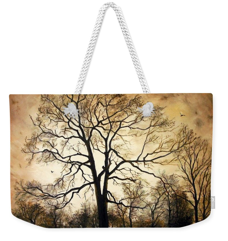 Late Autumn Weekender Tote Bag featuring the painting Late Autumn by Sorin Apostolescu