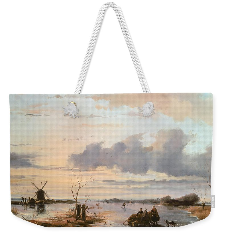 Windmill Weekender Tote Bag featuring the painting Late Winter In Holland by Nicholas Jan Roosenboom