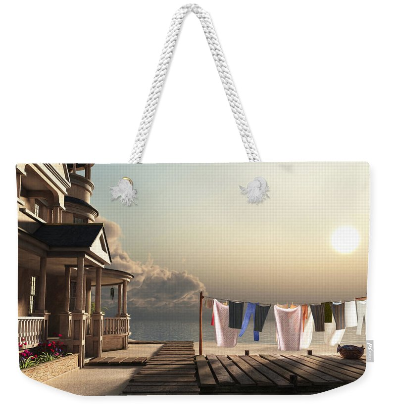 Beach Weekender Tote Bag featuring the digital art Laundry Day by Cynthia Decker