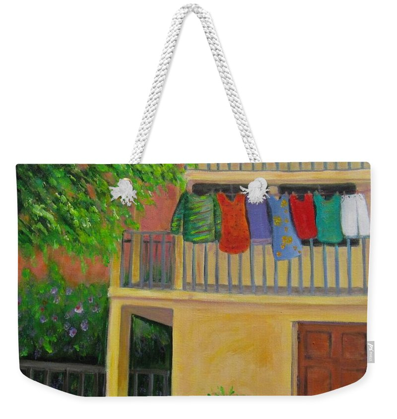 Laundry Weekender Tote Bag featuring the painting Laundry Day by Laurie Morgan