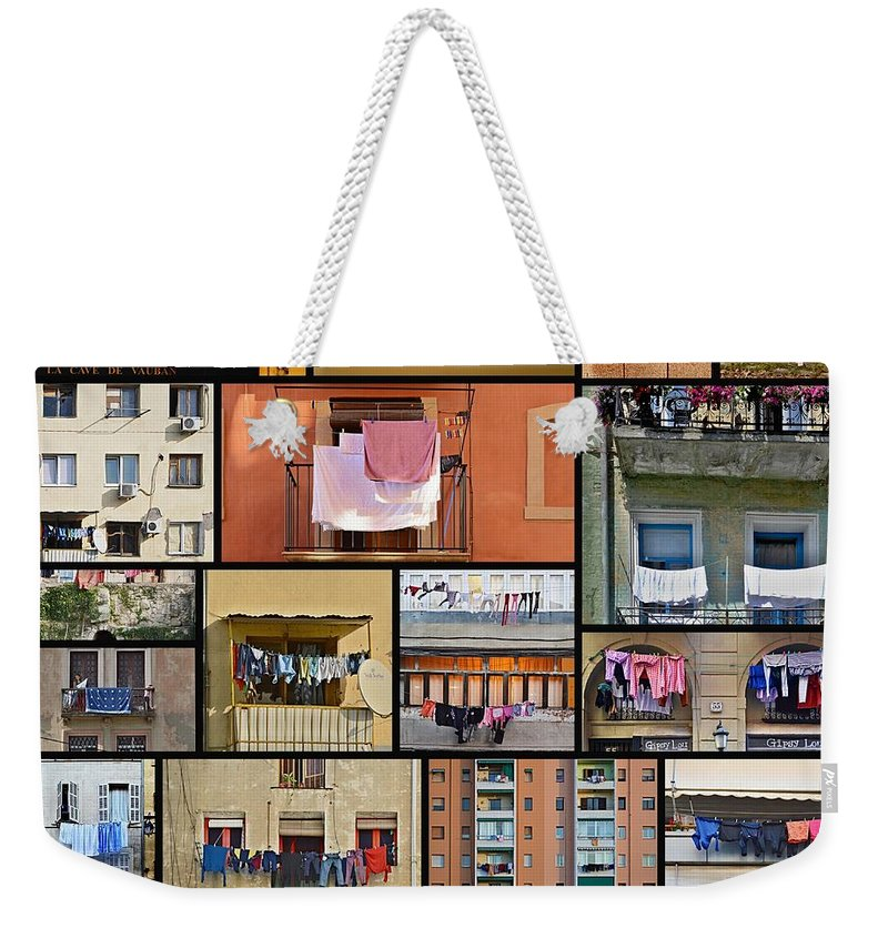 Collage Weekender Tote Bag featuring the photograph Laundry by Steven Liveoak