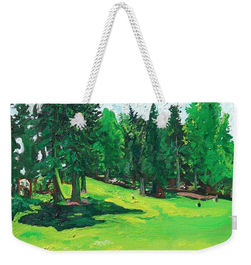 Laurelhurst Weekender Tote Bag featuring the painting Laurelhurst Park by Joseph Demaree