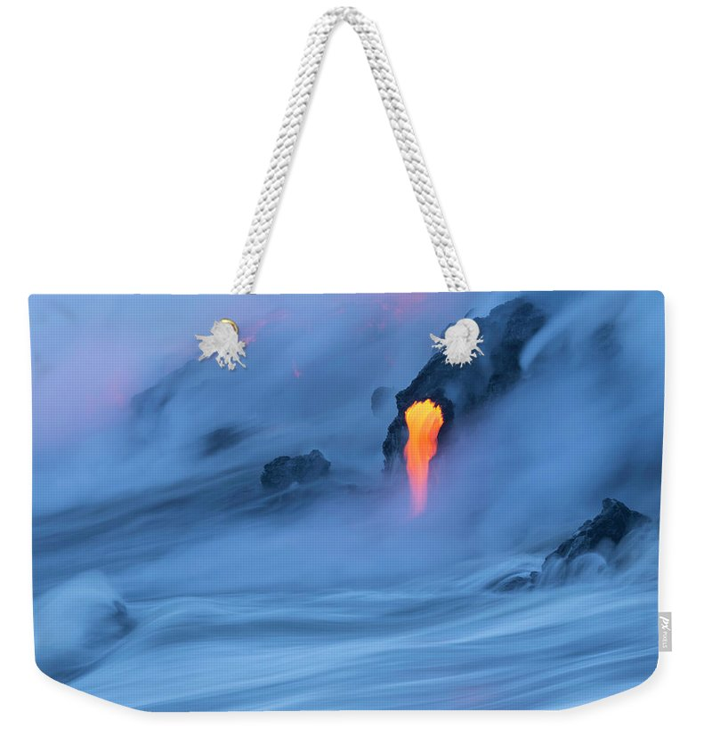 Cool Attitude Weekender Tote Bag featuring the photograph Lava Ocean Entry by Justinreznick