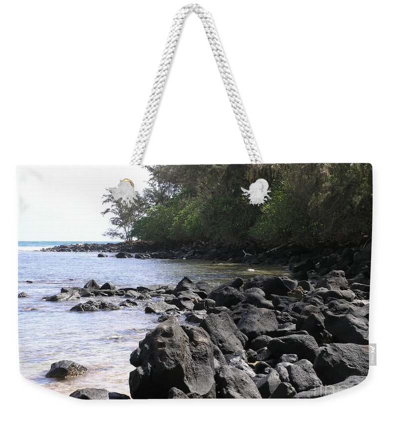 Ocean Weekender Tote Bag featuring the photograph Lava Rocks by Mary Deal