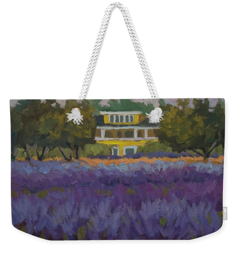 Lavender Weekender Tote Bag featuring the painting Lavender Farm On Vashon Island by Diane McClary