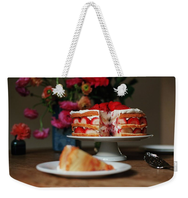 Vanilla Weekender Tote Bag featuring the photograph Layered Strawberry Cake With Background by Katie Baxter