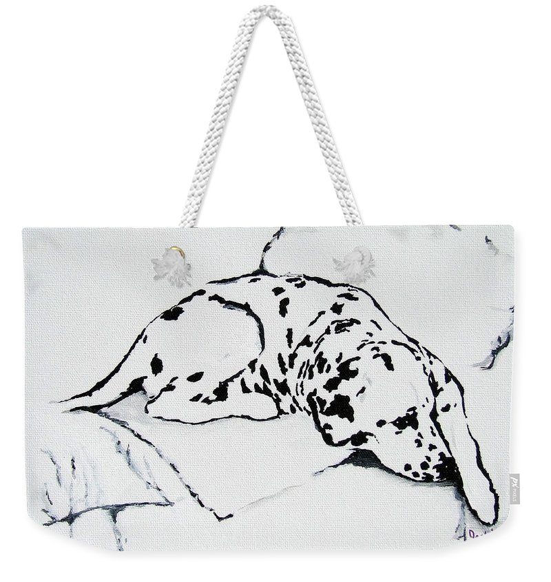 Dogs Weekender Tote Bag featuring the painting Lazy Day by Jacki McGovern