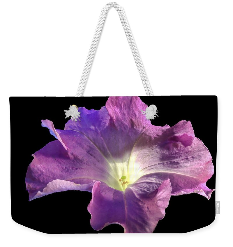 Flower Weekender Tote Bag featuring the photograph Lazy Petunia by Jean Noren