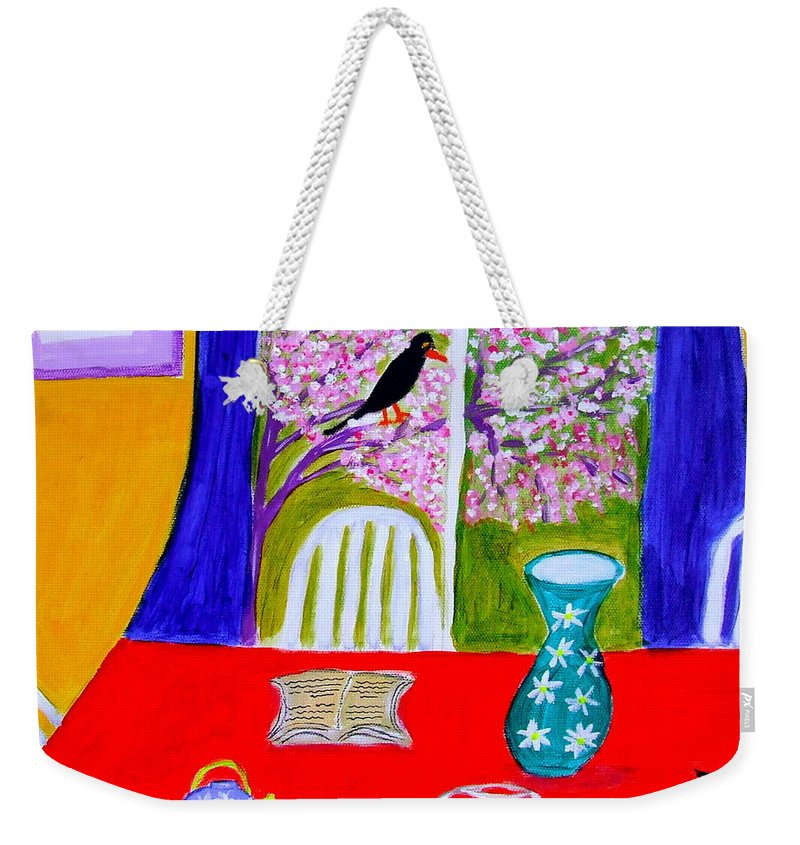 Cats Weekender Tote Bag featuring the painting Le Poisson Rouge by Rusty Gladdish