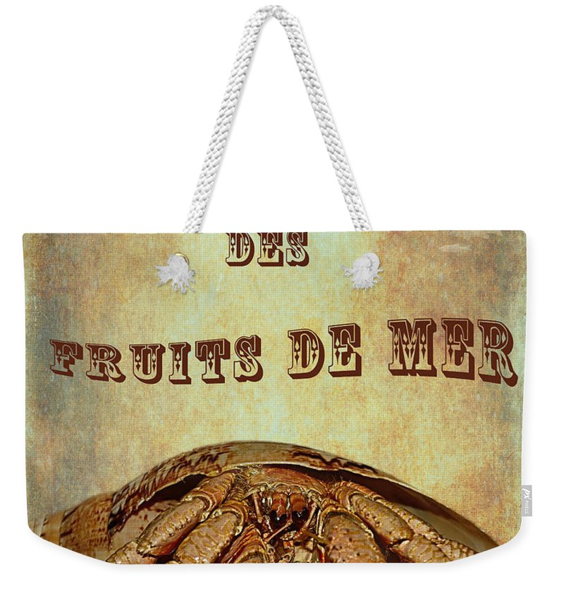 Photography Weekender Tote Bag featuring the photograph Le Roi Des Fruits De Mer by Kaye Menner