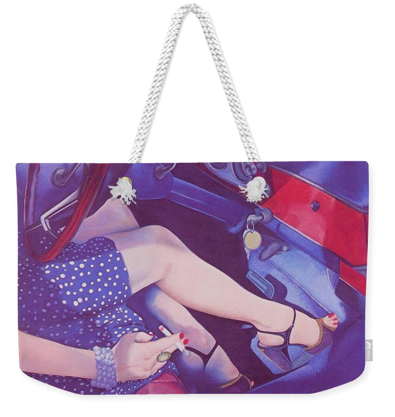 Feminine Weekender Tote Bag featuring the painting Lead Foot by Mary Ann Leitch