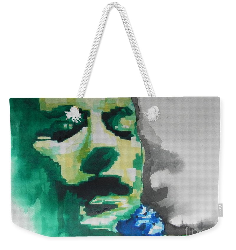 Watercolor Painting Weekender Tote Bag featuring the painting Lead Singer Of The R E M Band by Chrisann Ellis