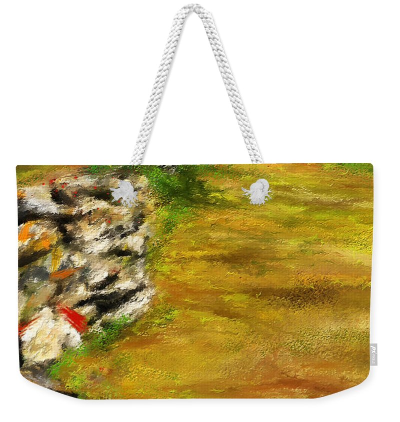 Pastoral Scenes Weekender Tote Bag featuring the painting Leading Red - Autumn Impressionist by Lourry Legarde