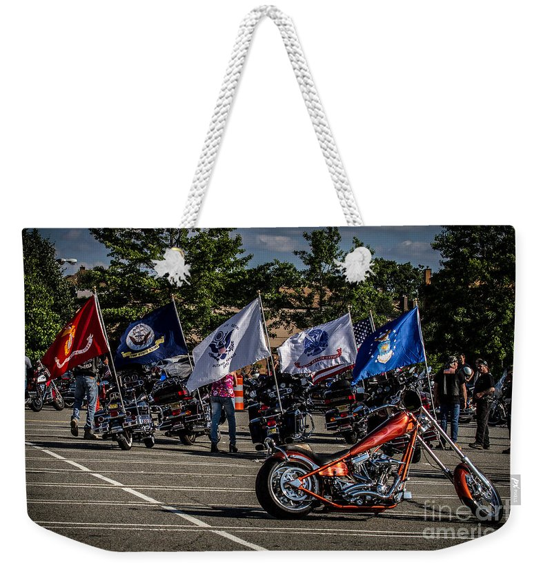 Motorcycles Weekender Tote Bag featuring the photograph Leading The Way by Eleanor Abramson