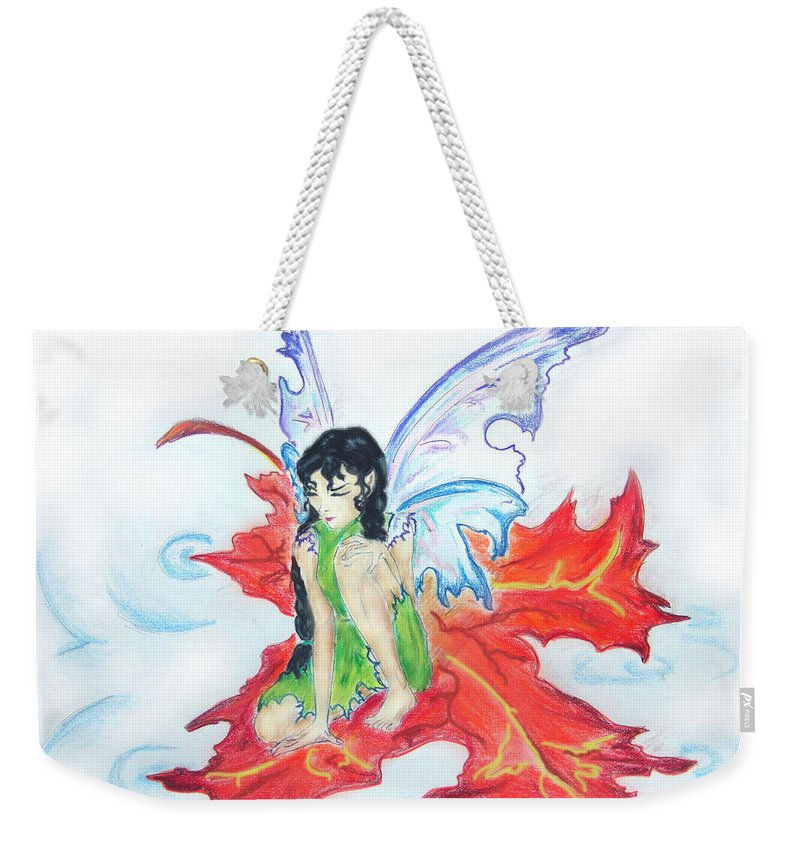 Weekender Tote Bag featuring the drawing Leaf Fairy by Katerina Naumenko