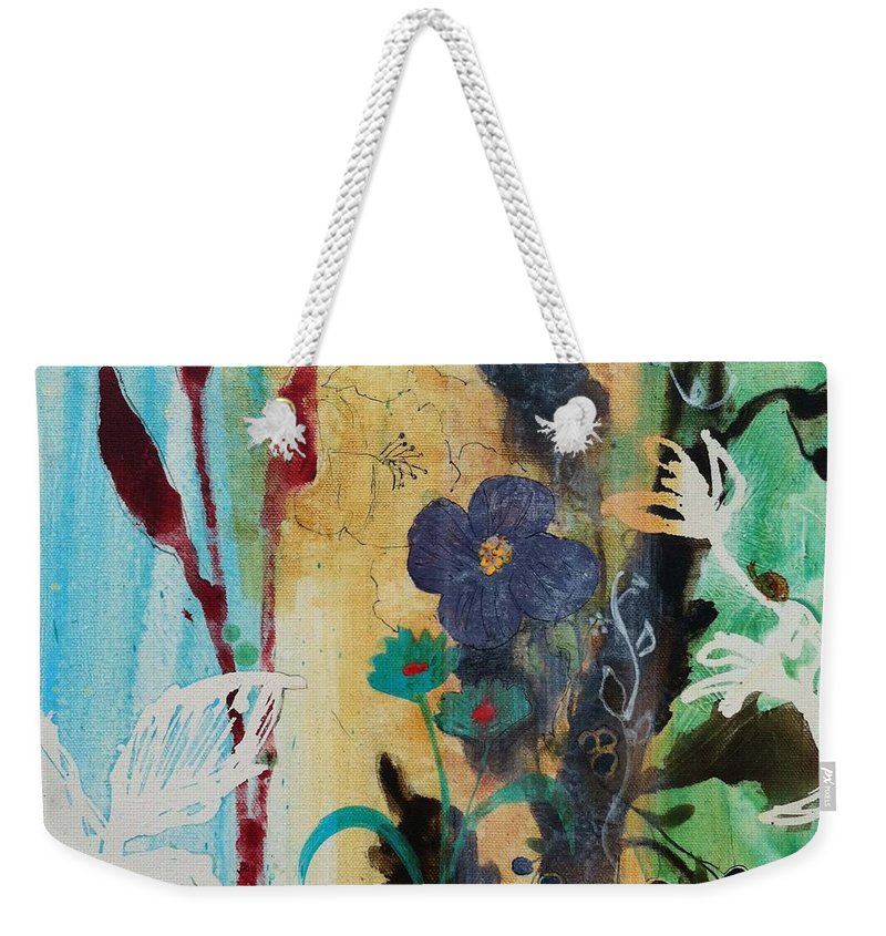 Leaf Weekender Tote Bag featuring the painting Leaf Flower Berry by Robin Maria Pedrero
