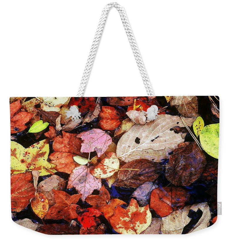 Leaves Weekender Tote Bag featuring the photograph Leaf Patterns 2 by Rodney Lee Williams