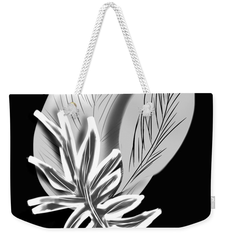 Black & White Weekender Tote Bag featuring the digital art Leaf Ray by Christine Fournier