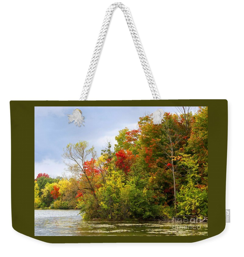 Autumn Weekender Tote Bag featuring the photograph Leaning Into Autumn by Ann Horn