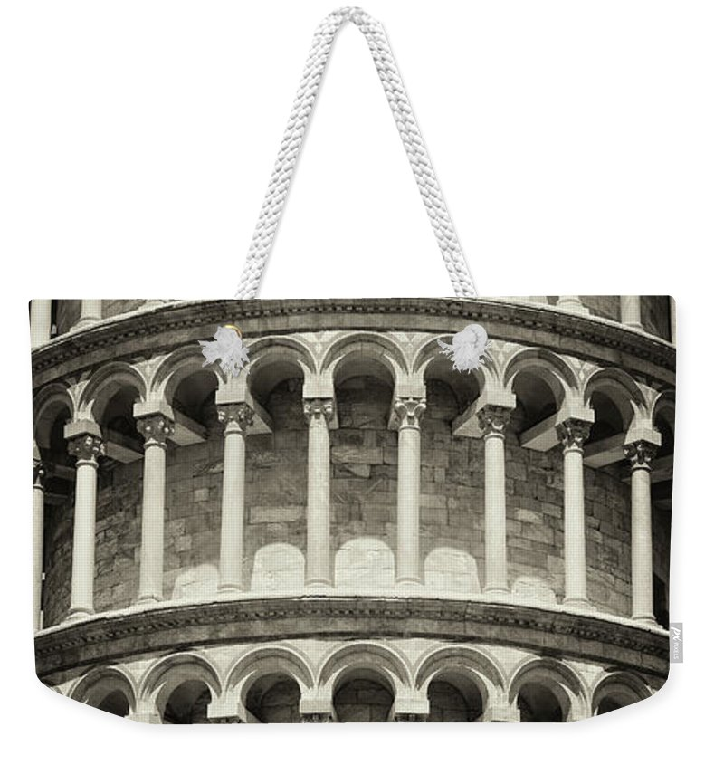 Architectural Column Weekender Tote Bag featuring the photograph Leaning Tower Of Pisa, Tuscany Italy by Romaoslo