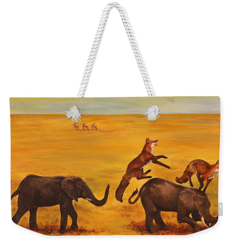 Fox Weekender Tote Bag featuring the painting Leap Frog by Michelle Miron-Rebbe