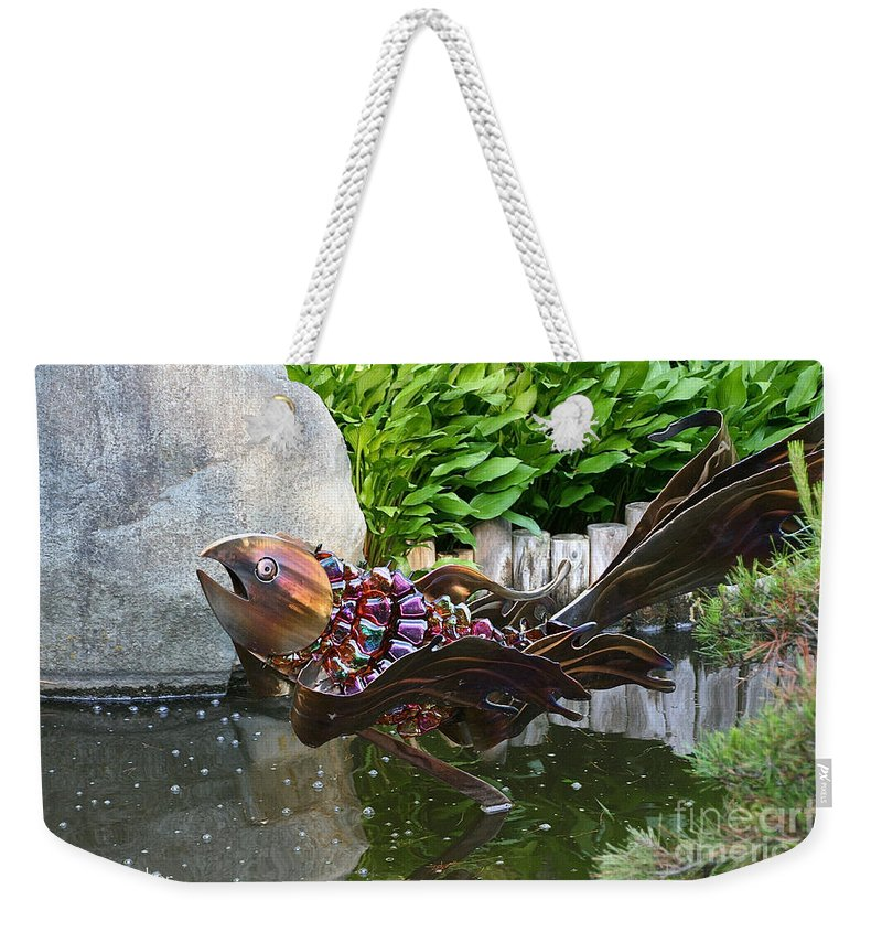Outdoor Weekender Tote Bag featuring the photograph Leaping Koi by Susan Herber