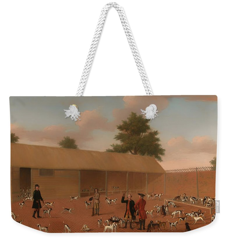 Painting Weekender Tote Bag featuring the painting Learning About The Hounds by Mountain Dreams