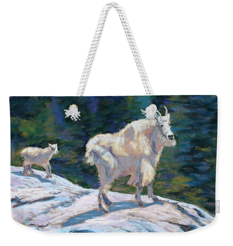 Mountain Goats Weekender Tote Bag featuring the painting Learning To Walk On The Edge by Mary Benke