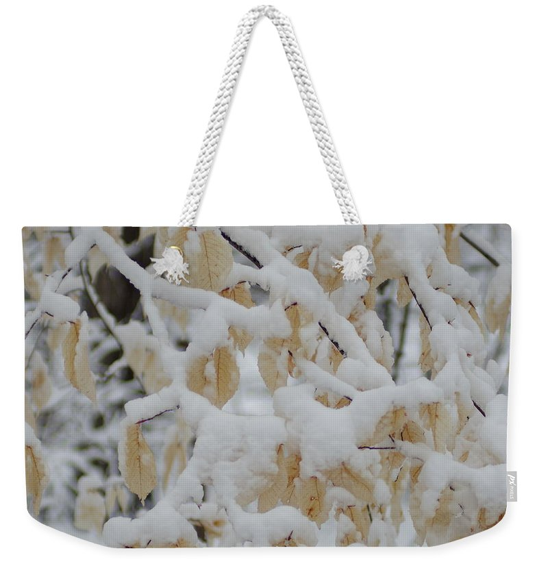 Yellow Leaves In Snow Weekender Tote Bag featuring the photograph Leaves Of Gold by Kitrina Arbuckle
