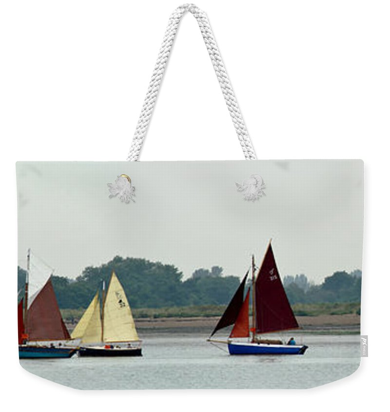 Classic Boats Weekender Tote Bag featuring the photograph Leaving The Colne by Gary Eason