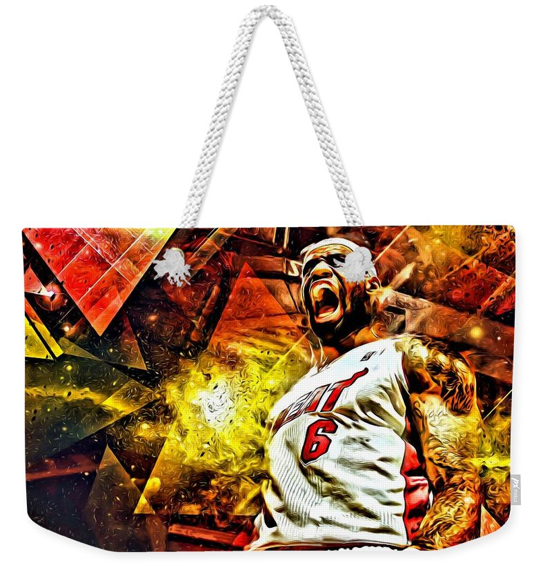 Nba Weekender Tote Bag featuring the painting Lebron James Art Poster by Florian Rodarte