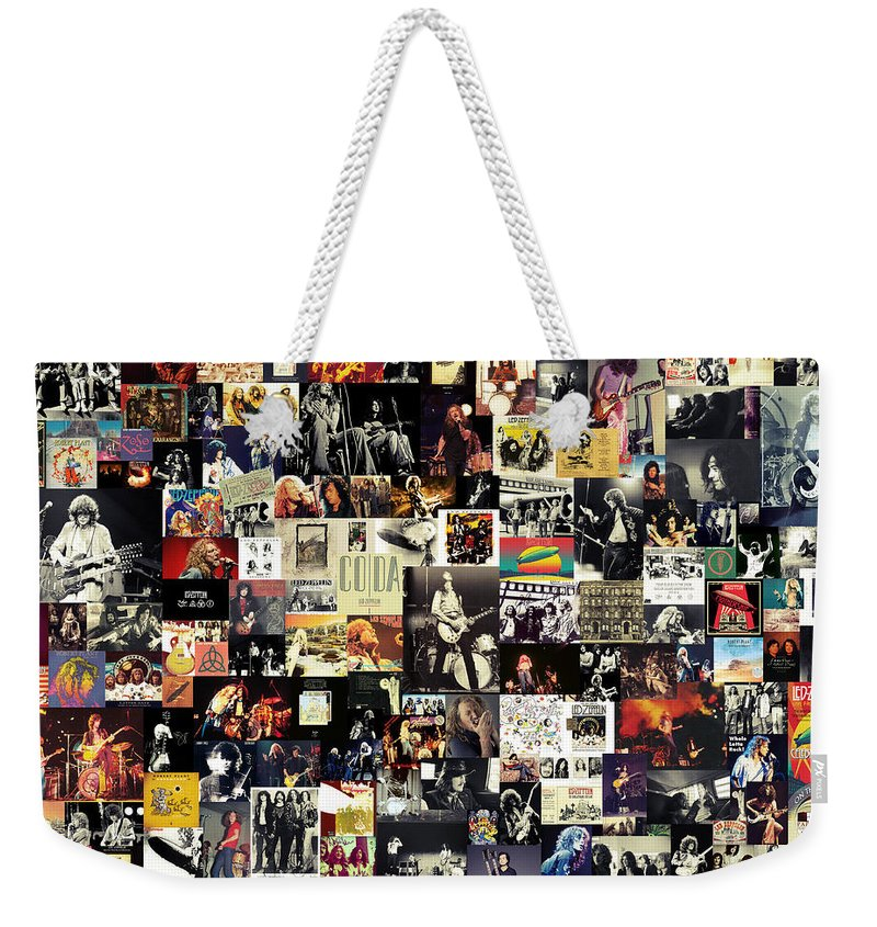 Led Zeppelin Weekender Tote Bag featuring the digital art Led Zeppelin Collage by Zapista