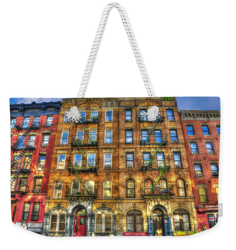 Led Zeppelin Weekender Tote Bag featuring the photograph Led Zeppelin Physical Graffiti Building In Color by Randy Aveille