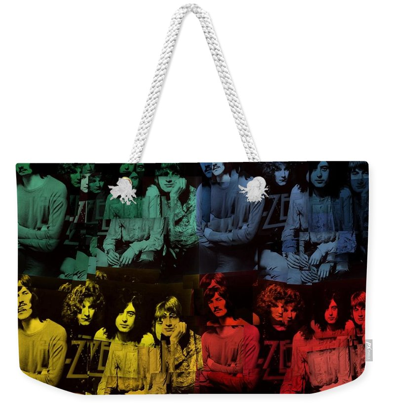 Led Zeppelin Pop Art Collage Weekender Tote Bag featuring the digital art Led Zeppelin Pop Art Collage by Dan Sproul