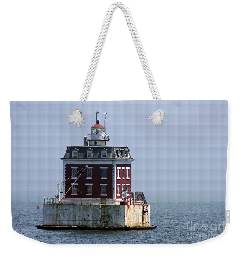New London Ledge Lighthouse Weekender Tote Bag featuring the photograph Ledge Light - Connecticut's House In The River by Christiane Schulze Art And Photography