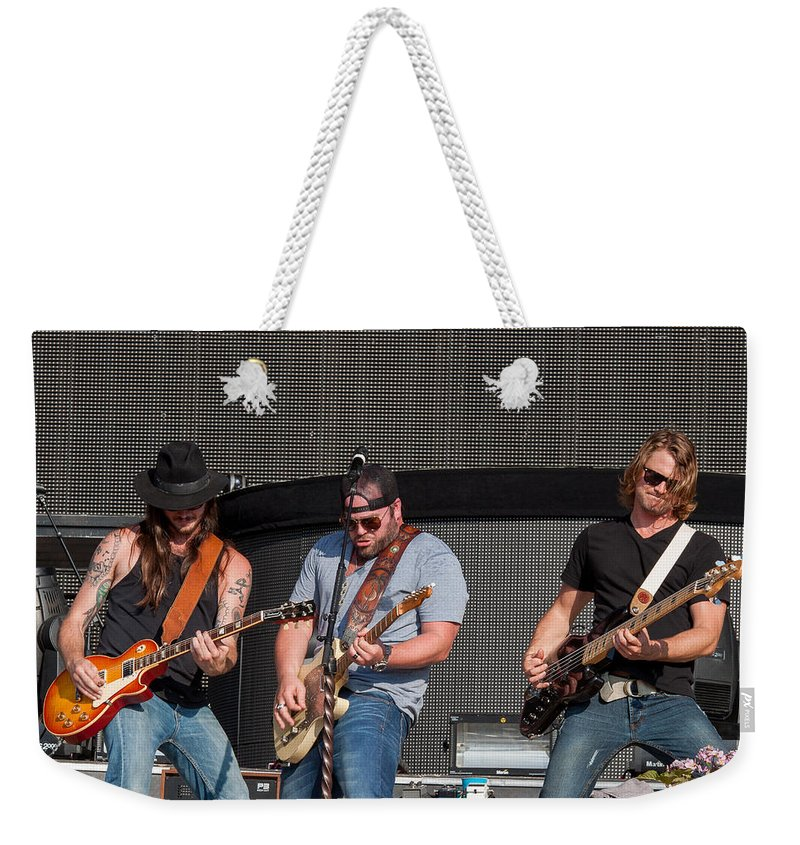 Jake Owen Weekender Tote Bag featuring the photograph Lee Brice 2 by Mike Burgquist