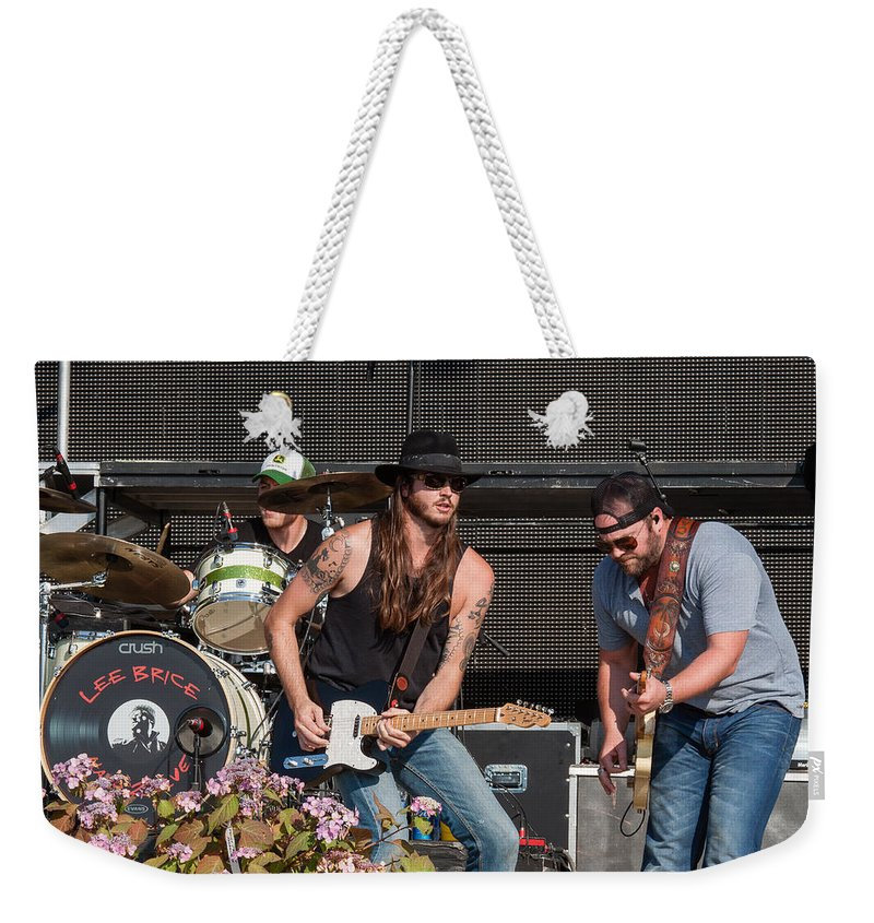 Lee Brice Weekender Tote Bag featuring the photograph Lee Brice by Mike Burgquist