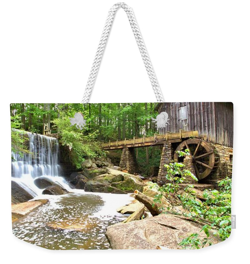 8656 Weekender Tote Bag featuring the photograph Lefler Grist Mill by Gordon Elwell